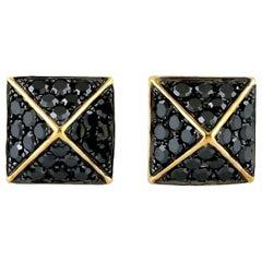 Spike Black Diamond 18 Karat Stud Earrings