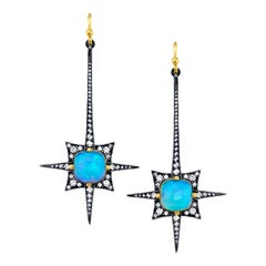 Spike Earrings with Opal and Diamonds