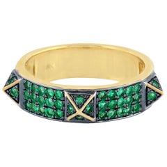 Spike Emerald 18 Karat Gold Band Ring