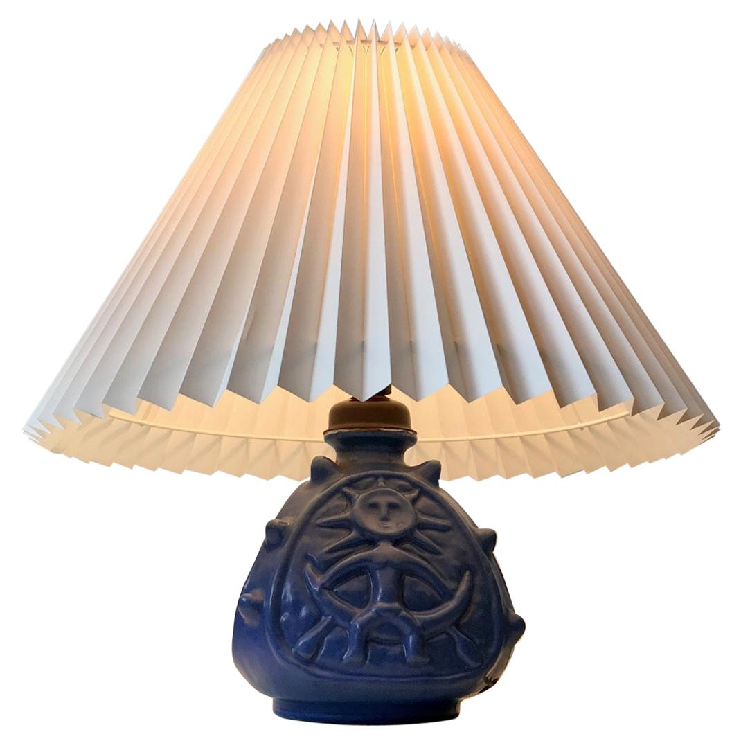 Spiky Blue Ceramic Table Lamp with Troll by Lauritz Hjorth, 1940s