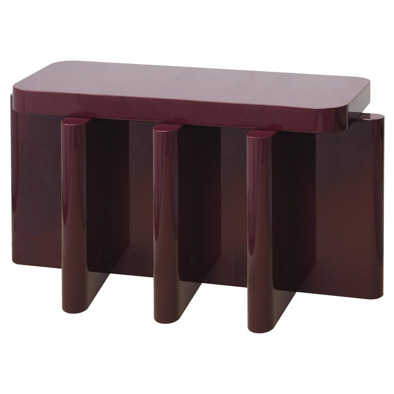 Spina Table in Lac Wood Bordeaux 3 Edit by Portego For Sale