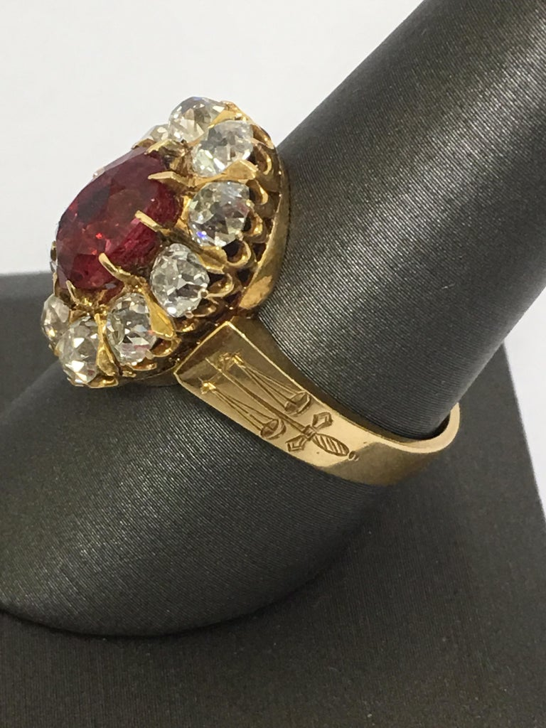 Artisan Spinal and Diamonds Antique Ring