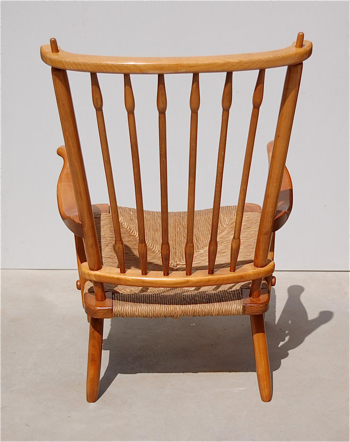 Attirant Spindle Armchair With Rush Seat, 1950s, Netherlands