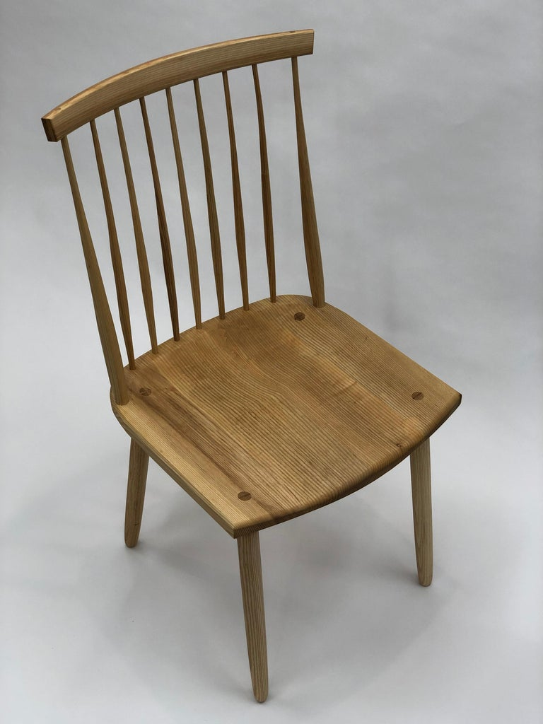 American Spindle Back Dining Chair in White Ash by Brian Holcombe For Sale
