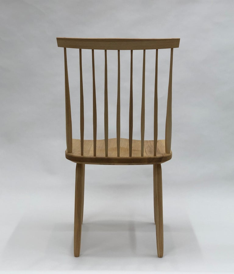 Spindle Back Dining Chair in White Ash by Brian Holcombe In New Condition For Sale In Princeton, NJ