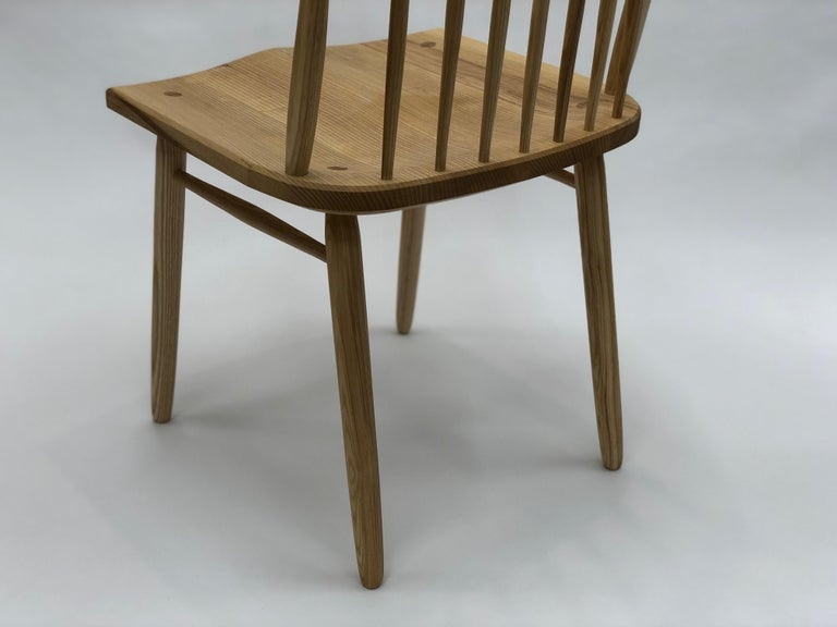 Contemporary Spindle Back Dining Chair in White Ash by Brian Holcombe For Sale
