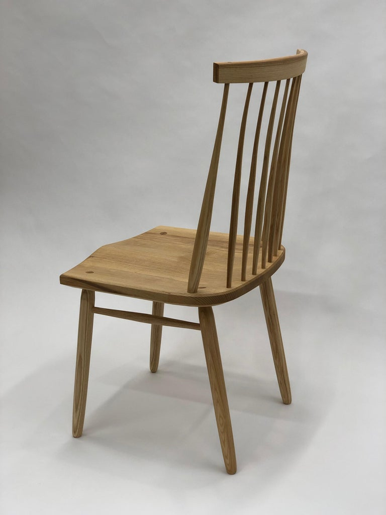 Spindle Back Dining Chair in White Ash by Brian Holcombe For Sale 1