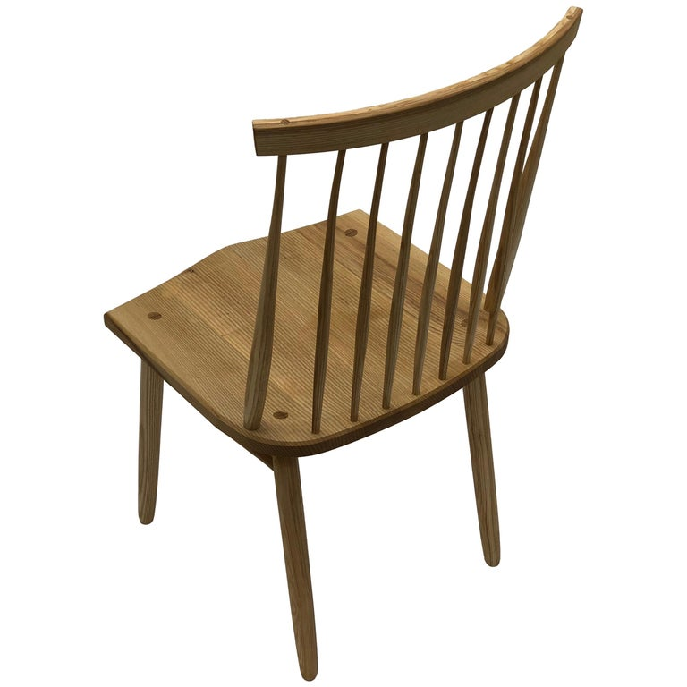 Spindle Back Dining Chair in White Ash by Brian Holcombe For Sale