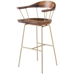 Spindle Bar Chair in Solid Walnut and Steel Designed by Craig Bassam