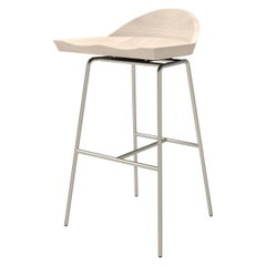 Spindle Bar Stool in Solid White Ash and Steel Designed by Craig Bassam