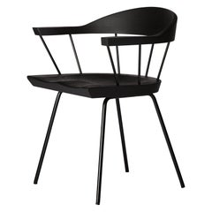 Spindle Chair in Solid, Carved Ebonized Ash and Steel Designed by Craig Bassam