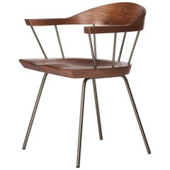 Spindle Chair in Solid, Carved Walnut and Steel Designed by Craig Bassam