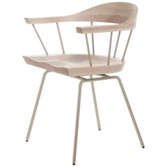 Spindle Chair in Solid, Carved White Ash and Steel Designed by Craig Bassam
