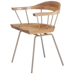 Spindle Chair in Solid, Carved White Oak and Steel Designed by Craig Bassam