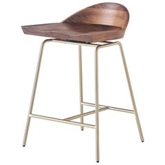 Spindle Counter Stool in Solid Walnut and Steel Designed by Craig Bassam