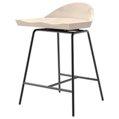 Spindle Counter Stool in Solid White Ash and Steel Designed by Craig Bassam