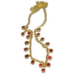 Spinel and 18 Karat Gold Fringe Necklace