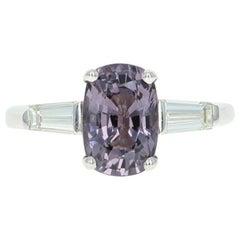Spinel and Diamond Ring, 14 Karat White Gold Engagement 3.17 Carat