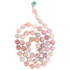 Spinel Bead Necklace with Zircon and Diamond Clasp