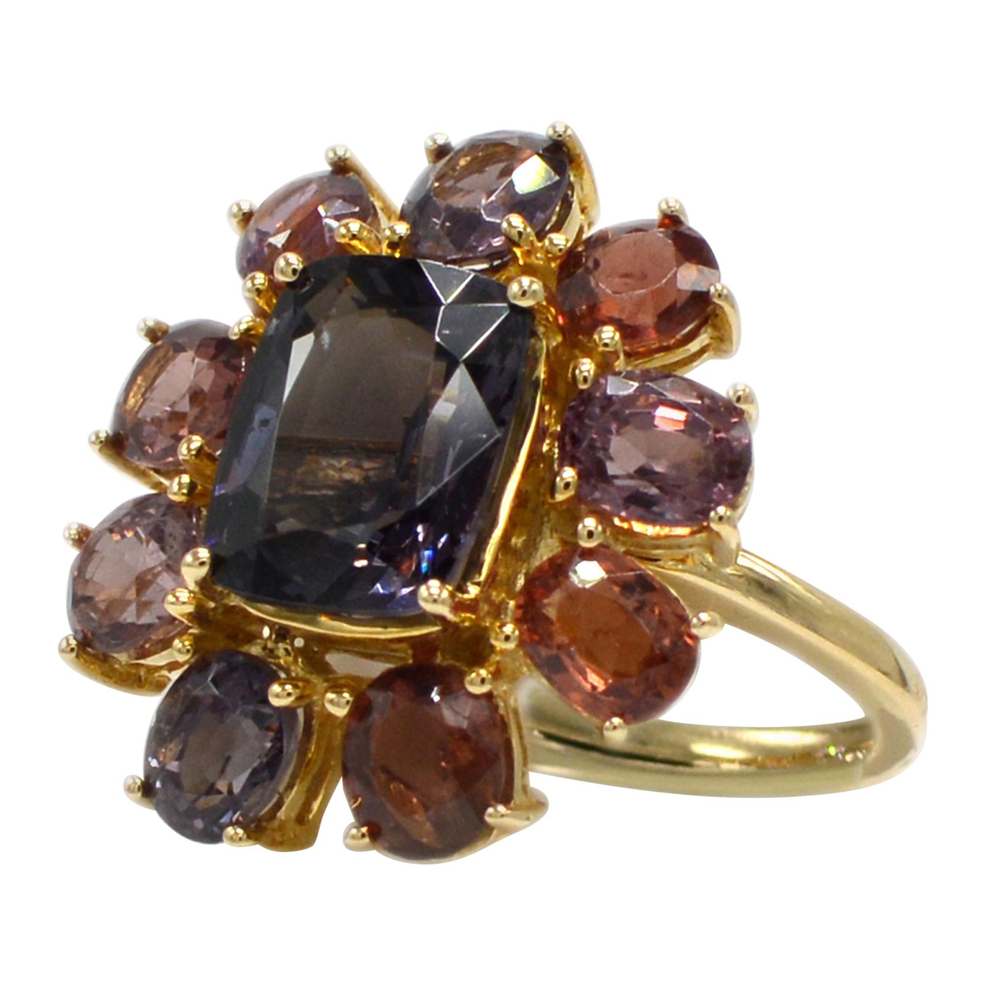 Spinel Cocktail Ring 14 Karat Rose Gold Mix Color Spinel Gemstones