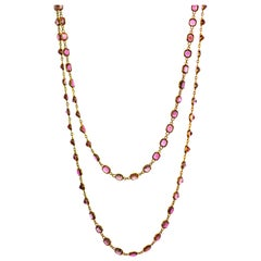 Spinel, Diamond and 18 Karat Gold Long Chain