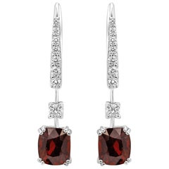 Spinel Diamond White Gold Lever Back Drop Earring
