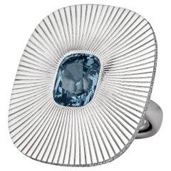 Spinel Diamond White Gold Sunburst Ring