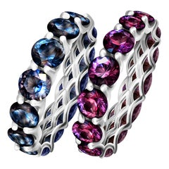 Spinel Mix Color 14 Karat White Gold Infinity Ring