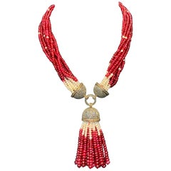 Spinel, Pearl and Diamond Multi Strand Tassel Necklace
