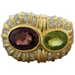 Spinel Peridot Diamond Gold Cocktail Ring