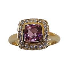 Spinel with Diamond Ring Set in 18 Karat Rose Gold Settings