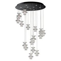 Spinn 7219 Suspension Lamp in Glass and Polished Chrome, by Barovier&Toso