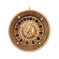 Spinning Roulette Wheel Charm Vintage 14k Gold Pendant Casino Gambling Jewelry