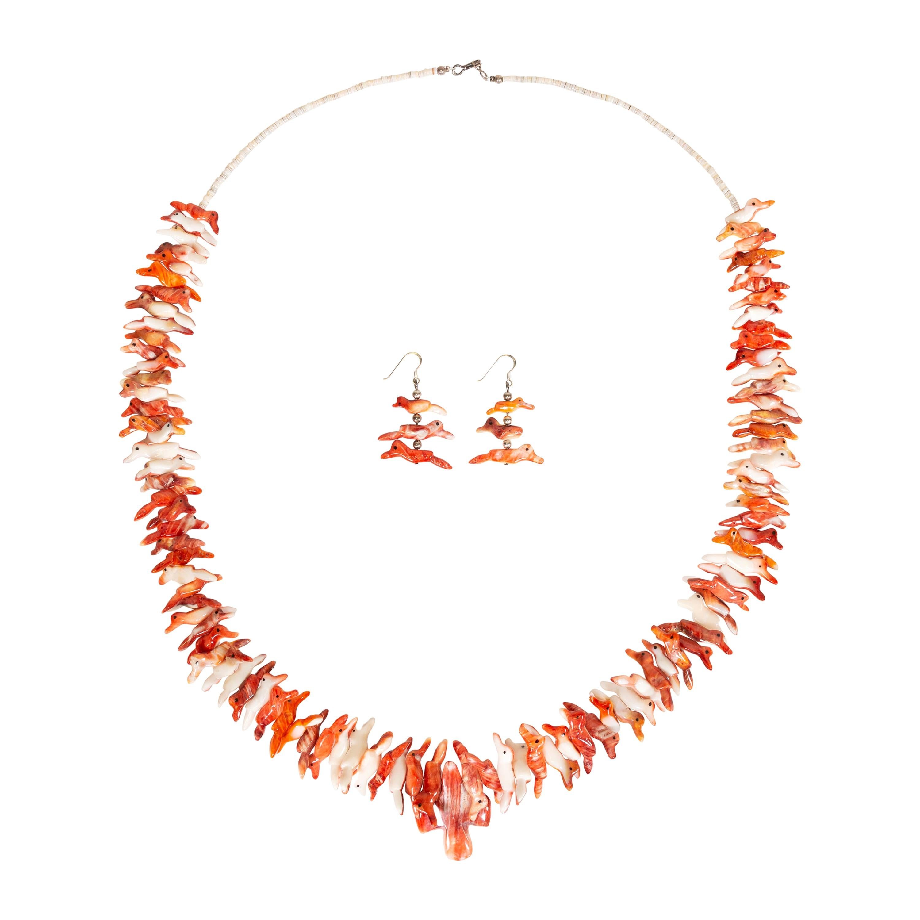 Spiny Oyster Fetish Necklace and Earrings Set