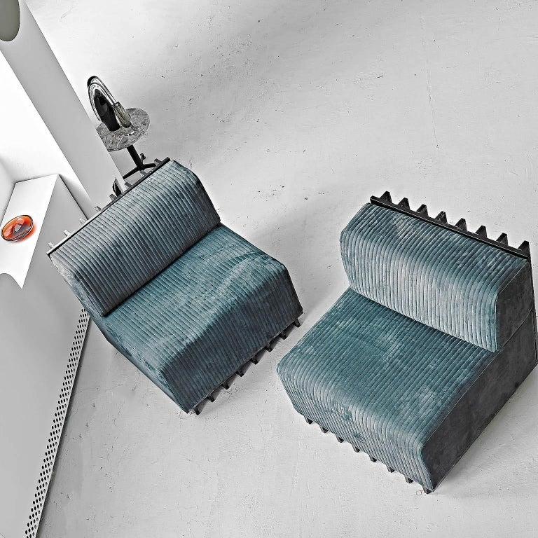 Spinzi Design Modular Sofa Leather Seat Armchair Lame' For Sale 1