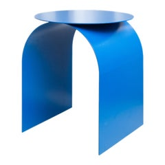 Spinzi Palladium Electric Blue Side Table Round Top