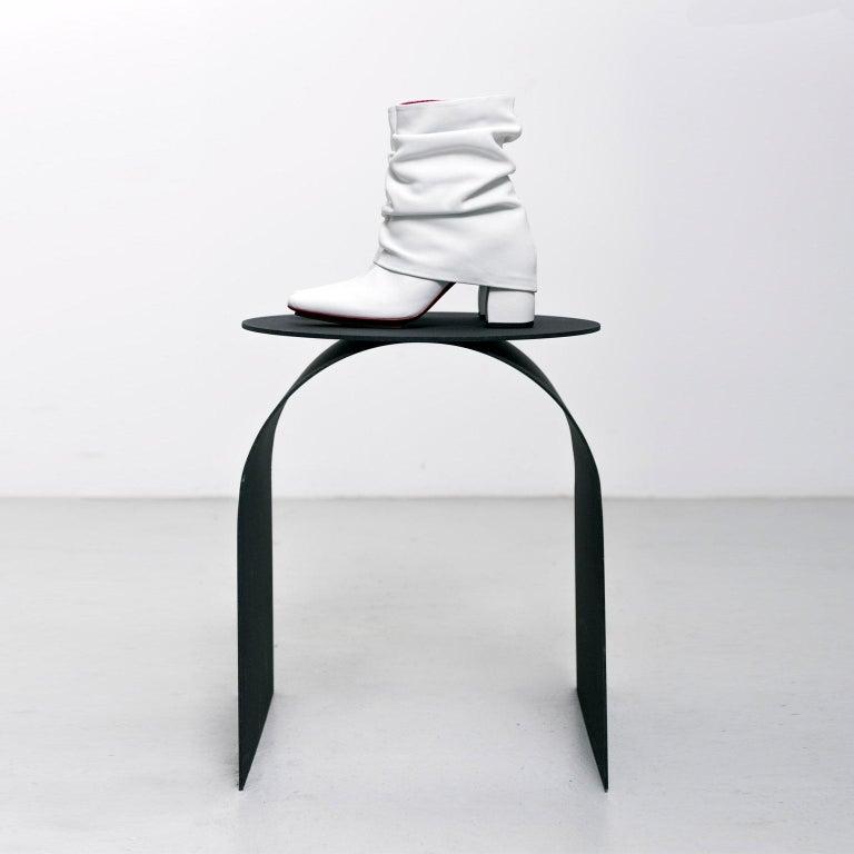 Spinzi Palladium Side Table Round Top For Sale 1