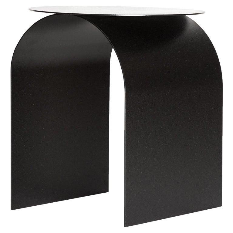 Spinzi Palladium Side Table Round Top For Sale