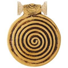 Spiral Brass Medallion Necklace Pendant