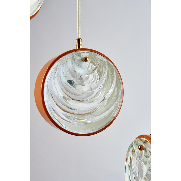 Mid-20th Century Spiral Cascading Chandelier with Glass Shades, Italy, 1960s For Sale