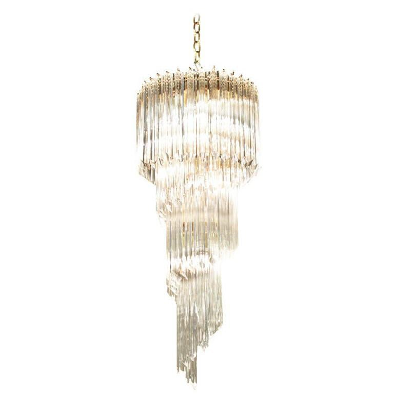 Spiral Chandelier with Glass Prisms, 1960s For Sale