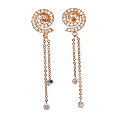 Spiral Diamond Fringe Earrings in 18 Karat Rose Gold