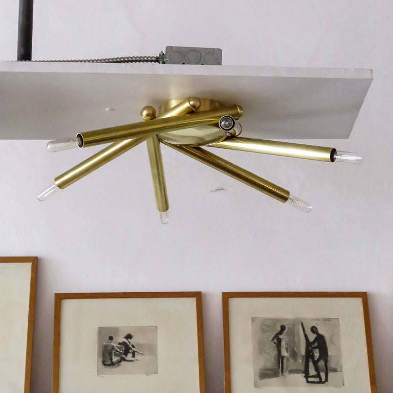 Stunning custom six-arm brass flush mount fixture, can be used as wall or ceiling light, available in different sizes and finishes, six E12 sockets, max. wattage 40w each, UL listing available upon request for an additional charge. Multiples