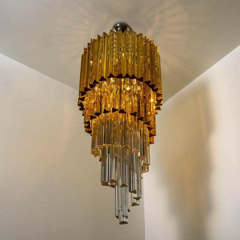Spiral Murano Glass Chandelier by Venini For Sale 3