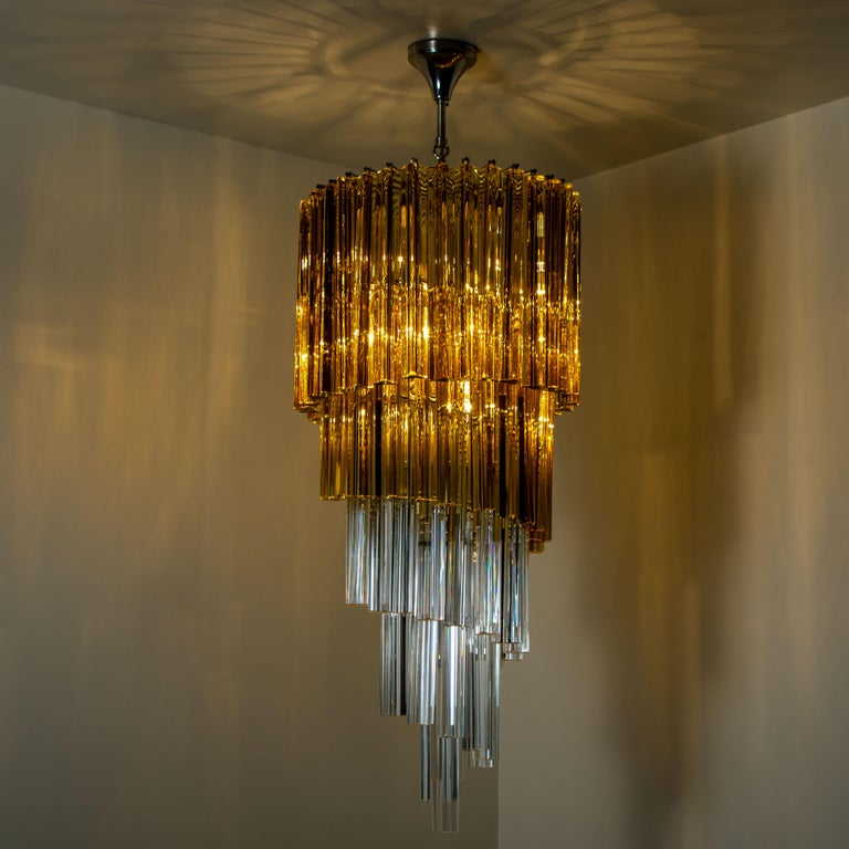 Spiral Murano Glass Chandelier by Venini For Sale 7