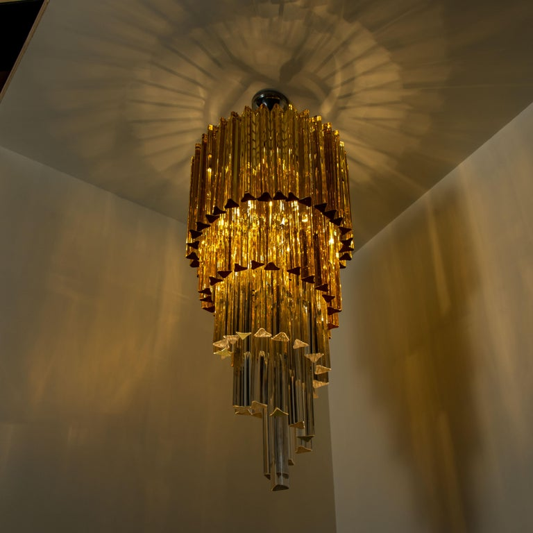 Spiral Murano Glass Chandelier by Venini For Sale 8
