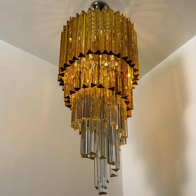 Spiral Murano Glass Chandelier by Venini For Sale 13