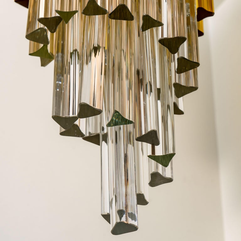 Crystal Spiral Murano Glass Chandelier by Venini For Sale