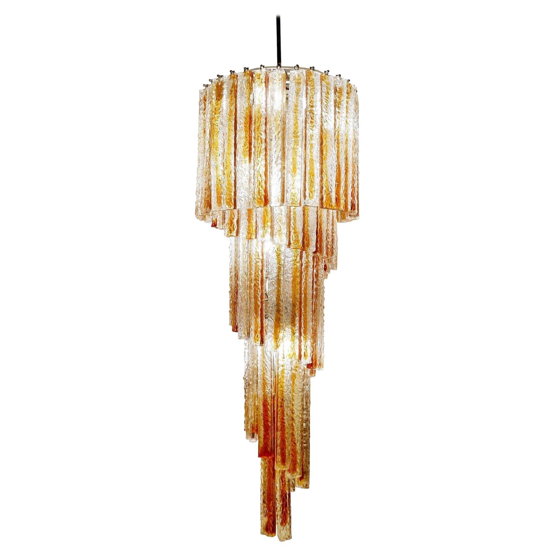 Spiral Murano Glass Chandelier by Venini