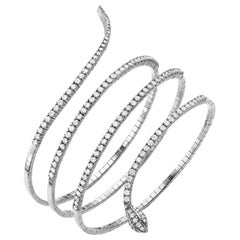 Spiral Snake Bangle Bracelet 2.97 Carat 18 Karat Gold Diamond Bracelet